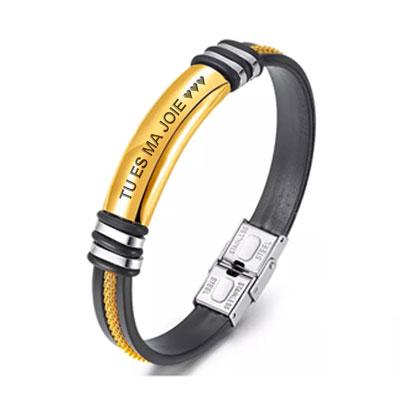 Bracelet personnalisé pour homme Or bijou pour homme cadeau personnalisé