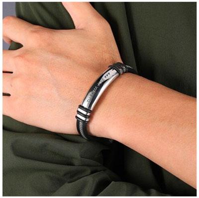 bracelet homme en acier inoxydable cadeau pour homme personnalisé