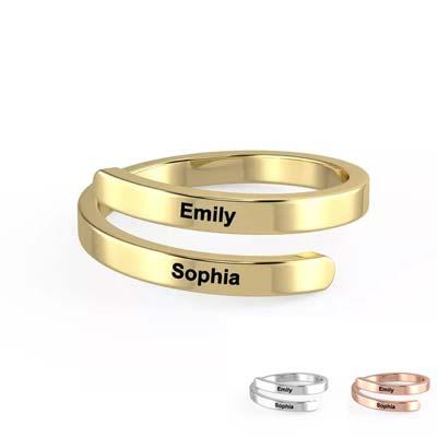 Bague personnalisée 2 prénoms anneau personnalisable avec prénom