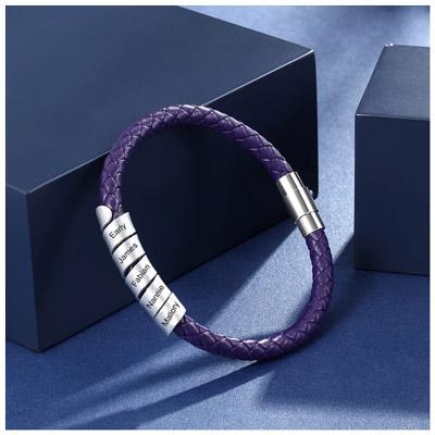 Bracelet 5 prénoms pour femme en cuir