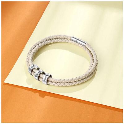 Bracelet personnalisé prénom cuir blanc