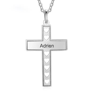 Collier croix personnalisé prénom cadeau pour bapteme
