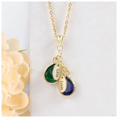 Collier personnalisé avec pierres de naissance bijoux personnalisables