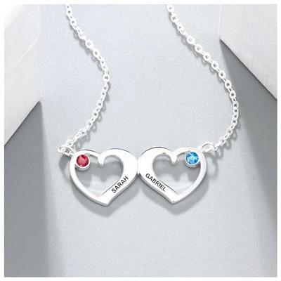 Collier personnalisé prénom 2 coeurs collier en forme de 2 coeurs entrelacés personnalisables avec 2 inscription et de pierre de naissances