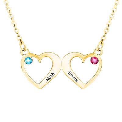 bijou personnalisé collier prénom 2 coeurs plaqué Or 18 carats