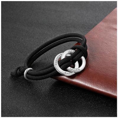 Bracelet 2 anneaux personnalisé en acier inoxydable