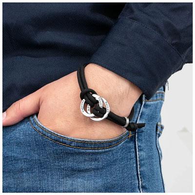 Bracelet personnalisé 2 anneaux 4 prénoms