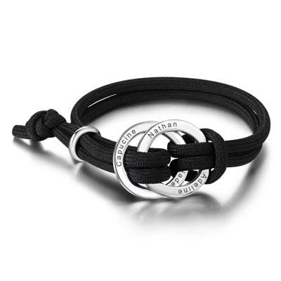 Bracelet personnalisé 2 anneaux pour homme cordon