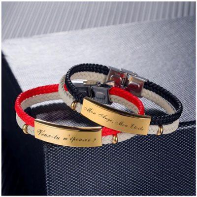 Bracelet grave avec prénom bijou pour homme et femme