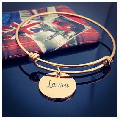 Bracelet médaille personnalisé pour femme bijou personnalisable