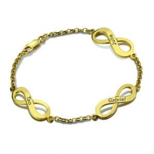 Bracelet 3 pendentifs infini à personnaliser